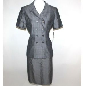 Le Suit Petite 2 PC Skirt Suit Plaid 43360P Career